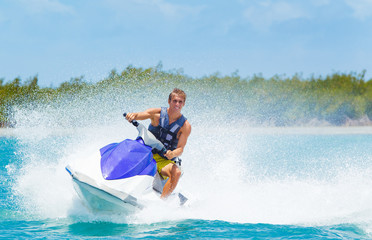 Poster Water Motor sporten Man on Jet Ski