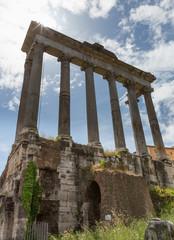 Columns at the Forum Ruins Sunbeams