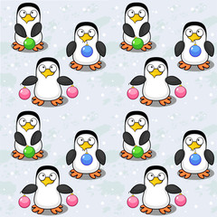 Seamless background with penguins