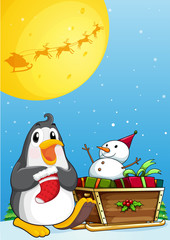 A penguin near the sleigh with a snowman