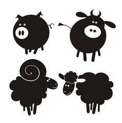 Farm animals. Vector illustration.