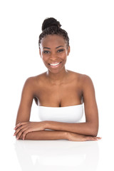 Portrait young African American smiling woman - black and white