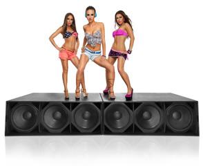 three seductive girls standing on speakers