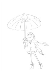 Contour of happy person under autumn umbrella on isolated white