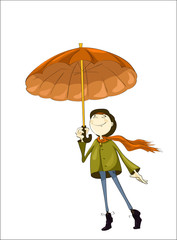 Happy person under autumn umbrella on isolated white