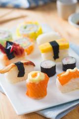 Sushi Assortment On a Dish, close up