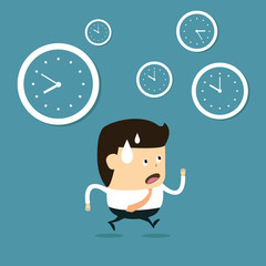 The time management, With Cartoon Businessman running