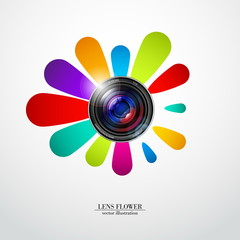 Camera photo lens with flower - vector illustration