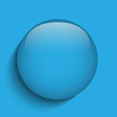 Blue Glass Circle Button on Red Background