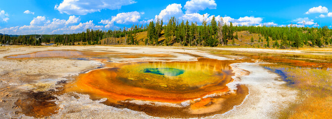 Aluminium Prints Natural Park Chromatic Pool Panorama, Yellowstone National Park, Upper Geyser