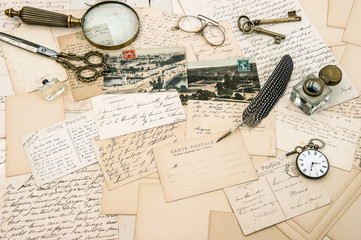 antique accessories, old letters and postcards, vintage pen