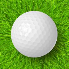 Wall Mural - golf ball on grass