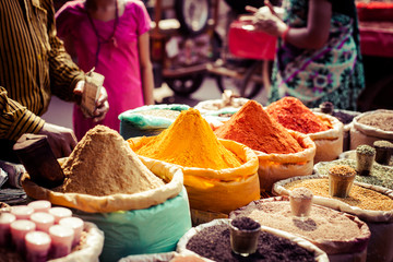 Aluminium Prints Morocco Traditional spices and dry fruits in local bazaar in India.