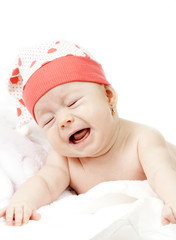 Portrait of adorable 3 month old baby girl crying