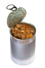 Opened dog or cat canned food isolated. Clipping path