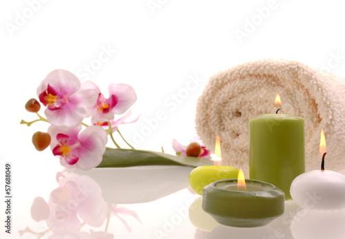 Wellness bilder grün  Wellness Orchideen Rosa Kerze Grün