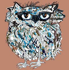 Owl, vector illustration. Illustration for t-shirt.