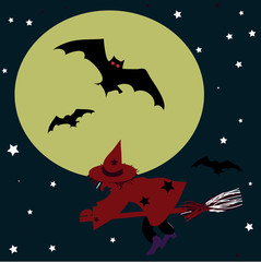 Witch on a broomstick and bat on the background of the moon.