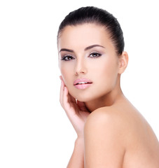 Wall Mural - Beautiful face of young girl  with  fresh healthy skin