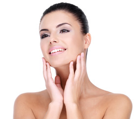 Wall Mural - Beautiful face of smiling  woman with clean fresh skin