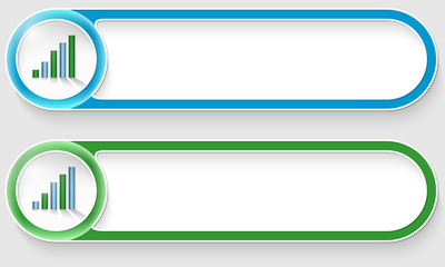 blue and green vector abstract buttons with graph