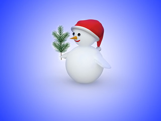 3D snowman with Santa Claus hat and pine branch