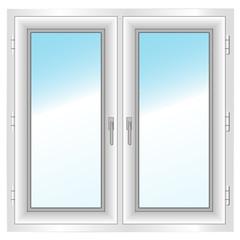 plastic closed double window. Vector illustration.