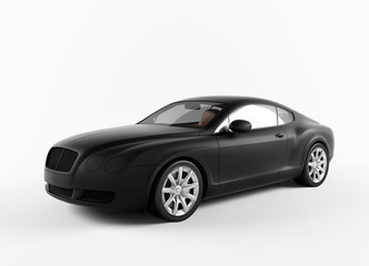 Isolated matte Black concept sport car
