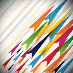 Colorful vectors of fast moving arrows and their paths