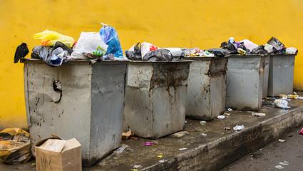 trash garbage in steel cans