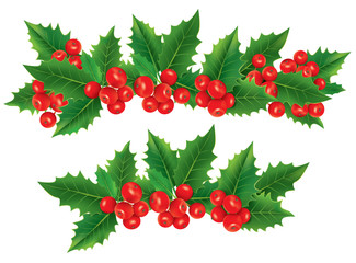 Christmas garland of holly berries