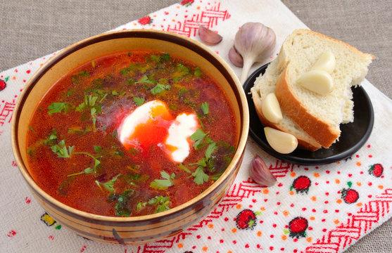 Borscht is a traditional soup of Ukrainian origin