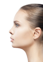 profile portrait of beautiful young woman with clean skin isolat
