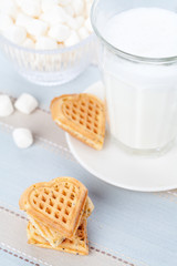 Home made waffles with milk and marshmallows