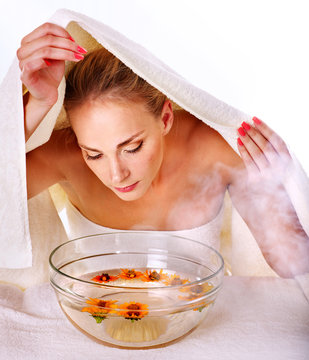 Facial massage in spa.