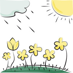 Vector flowers, sun and cloud. Imitation of children's drawings