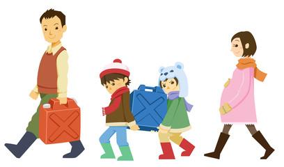 ポリタンクを運ぶ家族
