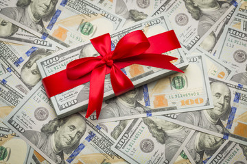 Gift Wrapped Newly Designed U.S. One Hundred Dollar Bills