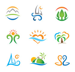 Experience travel paradise and live free logo template