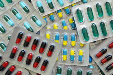 Colorful of oral medications in transparent strips.
