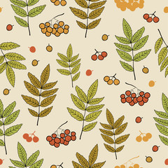 Vector pattern with leaves and rowan berries