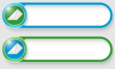 blue and green vector abstract buttons with envelope