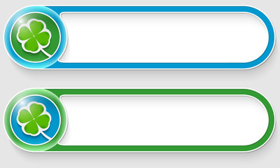 blue and green vector abstract buttons with cloverleaf