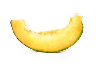 Slice of cantaloupe melon isolated