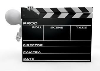 human character appearing from behind a clapperboard