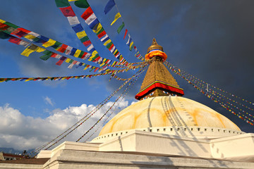 Boudhanath Buddhist stupa . Kathmandu, Nepal