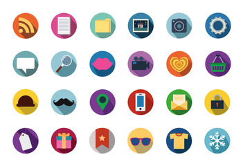 Trendy Vector Flat Icons With Long Shadow, Illustration