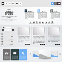 Clean Professional Website template in editable vector format