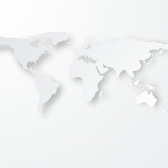 White/Grey World Map with Realistic Drop shadow /Vector