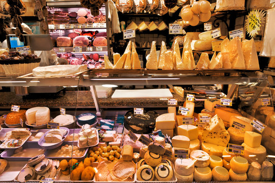 Dairy and meat products. Milk and meat market.